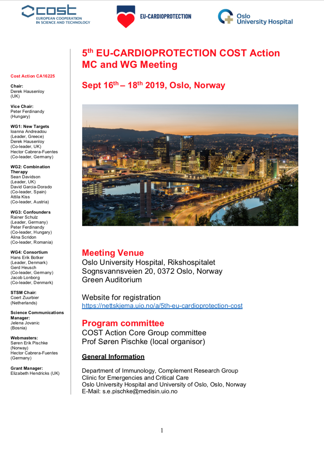 5th EU-CARDIOPROTECTION COST Action MC and WG Meeting, September 16-18, 2019 in Oslo