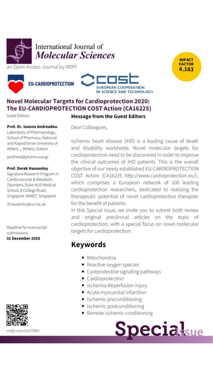 "[IJMS] Special Issue ""Novel Molecular Targets for Cardioprotection 2020: The EU-CARDIOPROTECTION COST Action (CA16225)"